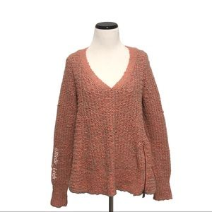 MOTH Anthropologie Pink Zipper Stitched Sweater